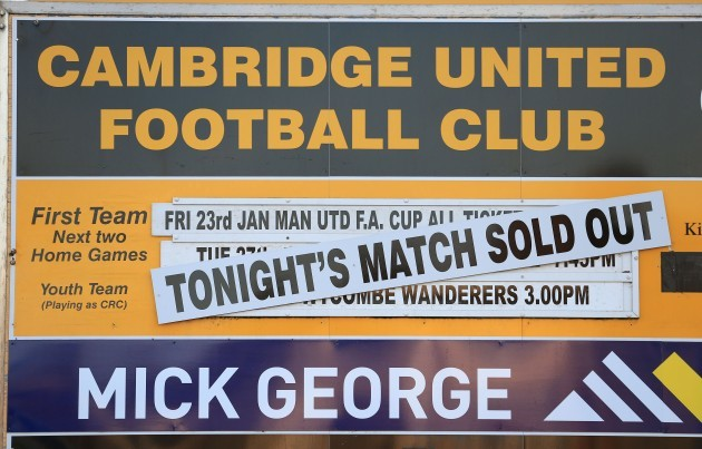 Soccer - FA Cup - Fourth Round - Cambridge United v Manchester United - The R Costings Abbey Stadium