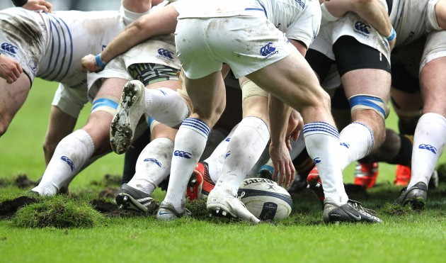 General view of a Leinster scrum