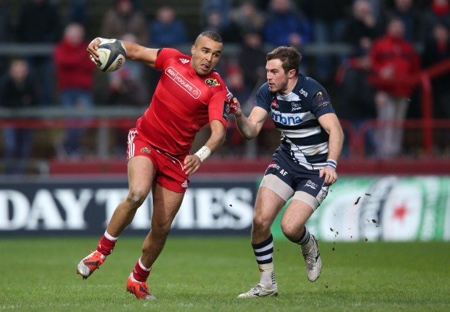 Simon Zebo tackled by Andy Forsyth