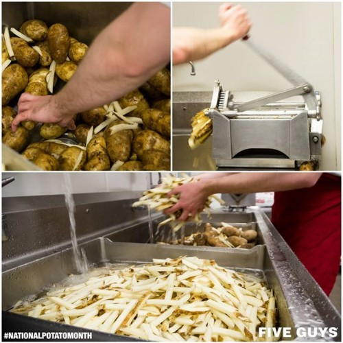 Our potatoes are cut fresh each morning. Once ...