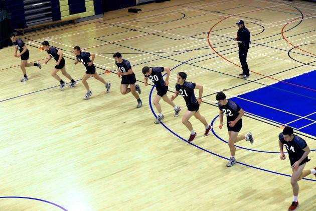 Players during the beep test this morning