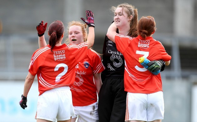 Mairead Tennyson, Nuamh Marley, Caoimhe Morgan and Katie Daly celebrate