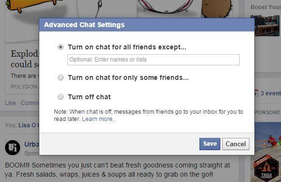 Turn off chat FB