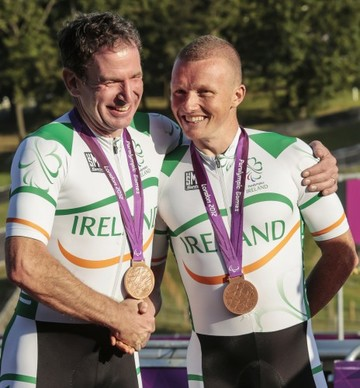 James Brown and Damien Shaw celebrate with their bronze medals