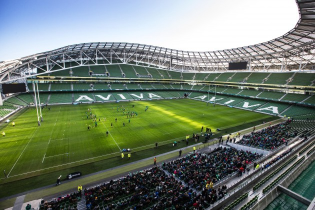 Ireland team training in the Aviva