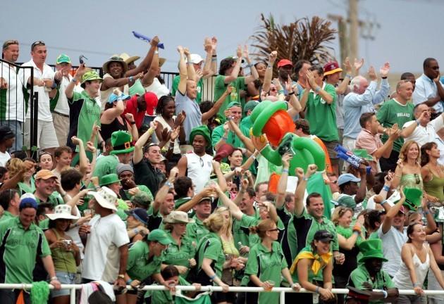 Fans enjoying Saint Patricks Day and supporting Ireland in Sabina Park 17/3/2007