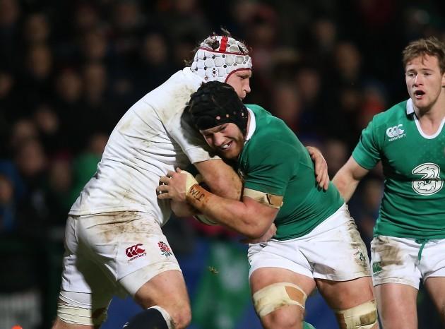 Sean O'Brien is tackled by Thomas Waldrom