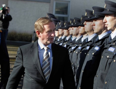 Pictured meeting the new Garda recruits i