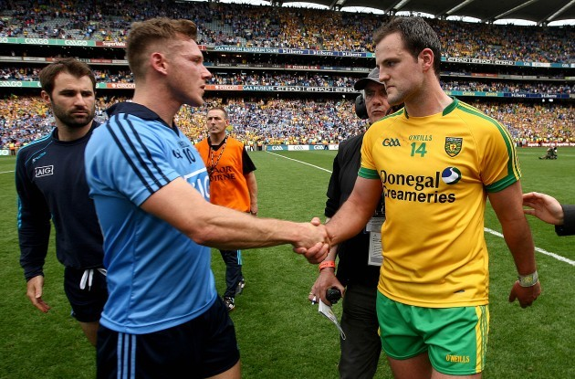 Paul Flynn with Michael Murphy at the end of the game