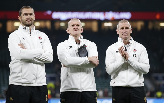 Andy Farrell and Graham Rowntree with Stuart Lancaster after the game