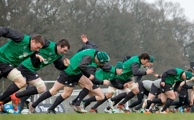 Ireland players during training
