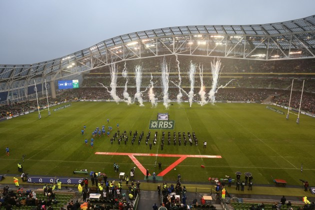 General view as the team comes on to the Aviva Stadium