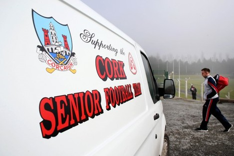Cork players arrive for the game