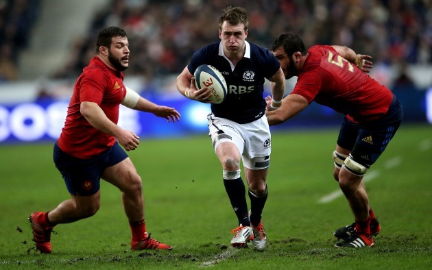 Rabah Slimani and Yoann Maestri tackle Stuart Hogg