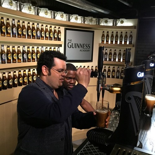 Pouring some perfect #Guinness Draft at the Factory in #Dublin with @kevinhart4real