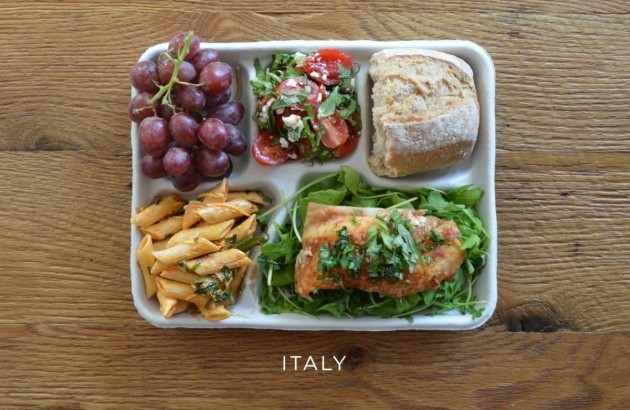 italy-fish-on-arugula-pasta-with-tomato-sauce-caprese-salad-baguette-grapes