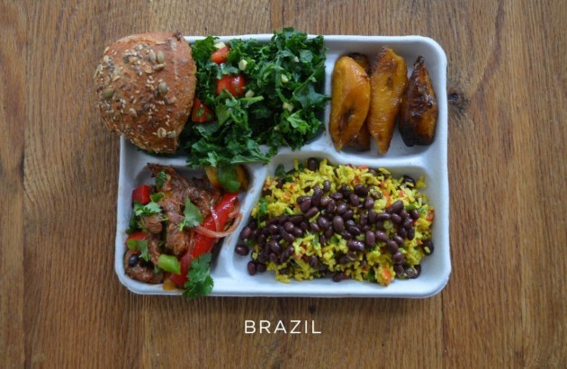 brazil-pork-with-mixed-veggies-black-beans-and-rice-salad-bread-baked-plantains