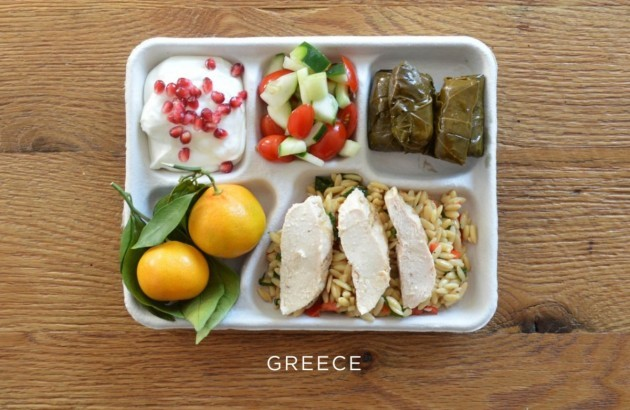 greece-baked-chicken-over-orzo-stuffed-grape-leaves-tomato-and-cucumber-salad-fresh-oranges-yogurt-with-pomegranate-seeds
