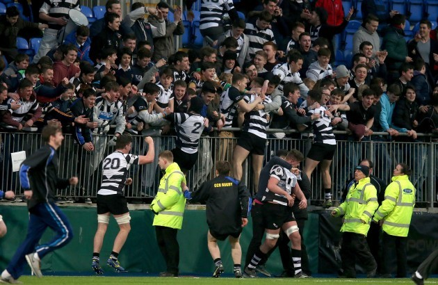 Roscrea players celebrate with fans after the game