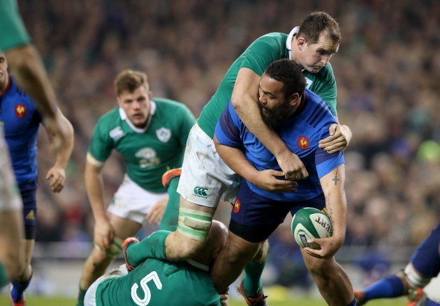 Devin Toner and Paul O'Connell with Uini Atonio