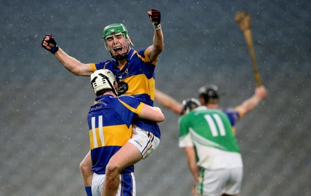 Christopher McGuinness and Deaglin Murphy celebrate after the game