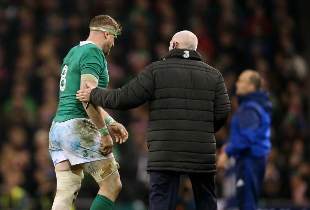 Jamie Heaslip leaves the field injured