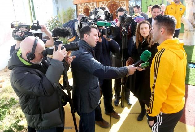 Robbe Keane speaking to the media
