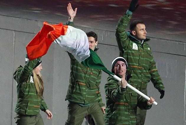 Irish athletes enter the stadium during the opening ceremony
