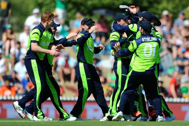 Ireland player celebrate the wicket of Chris Gayle