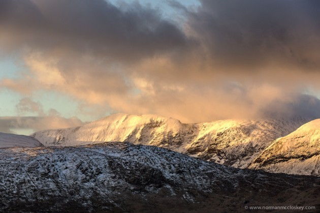 Evening light on Caher Mountain to the west of Carrauntoohil