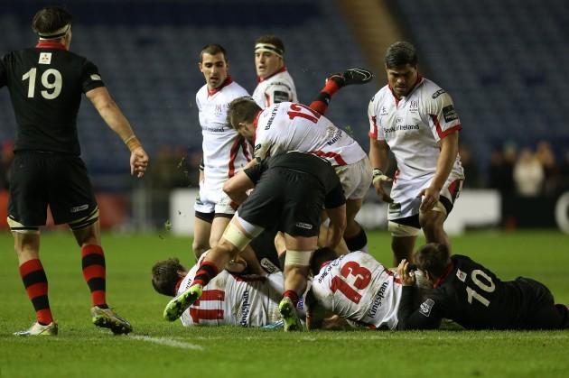 Stuart McCloskey tackles Tom Heathcote