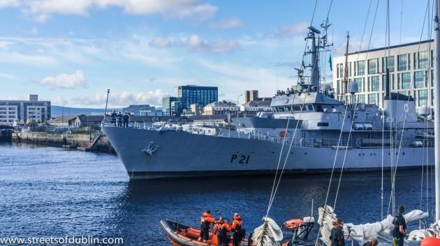 LÉ Emer (P21) Leads The Parade Of Sail - Tall Ships Festival Dublin 2012