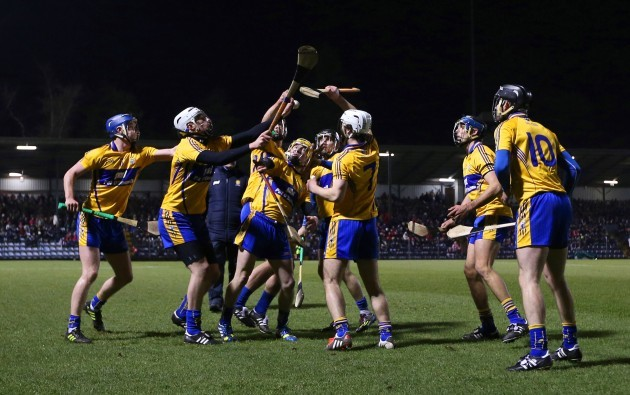 Clare players go through a warm up drill