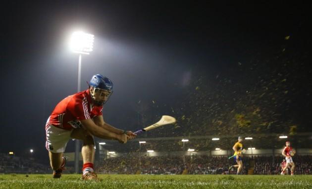 Conor O'Sullivan takes a sideline cut
