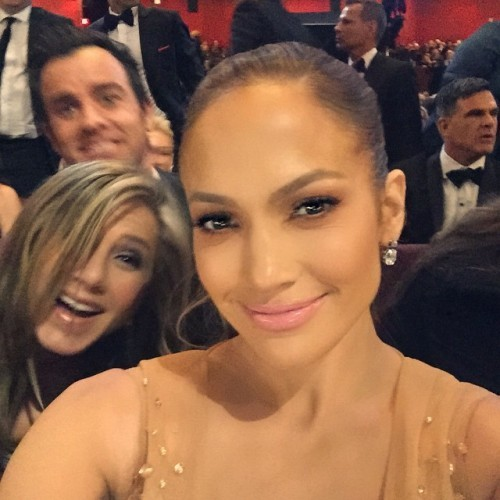 Photo bombed by my favorite couple Jennifer and Justin #Oscars