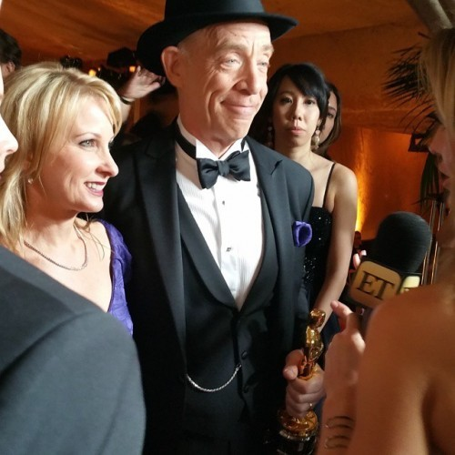 J.K. Simmons meeting the press with his Oscar