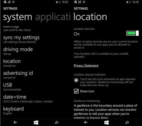 Windows Phone location