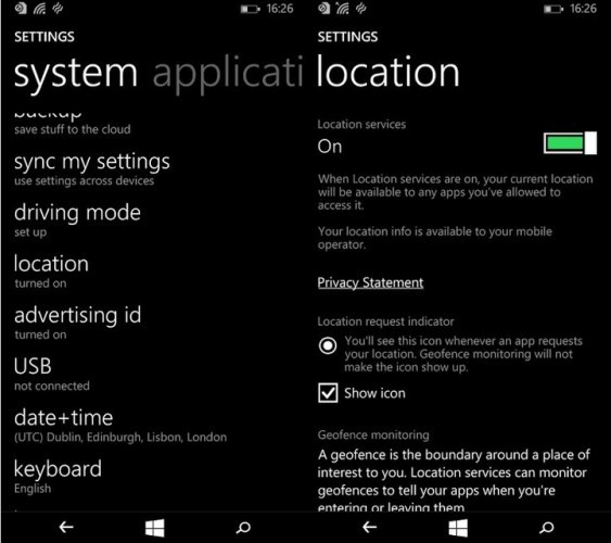 Windows Phone location