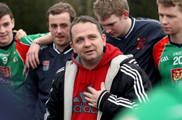 Davy Fitzgerald talks to his team after the game