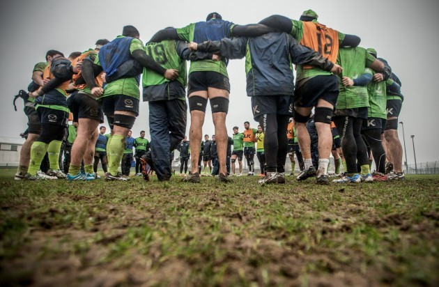 The Connacht team huddle after training