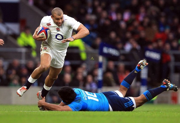 Jonathan Joseph beats Kelly Haimona and races through to score a try