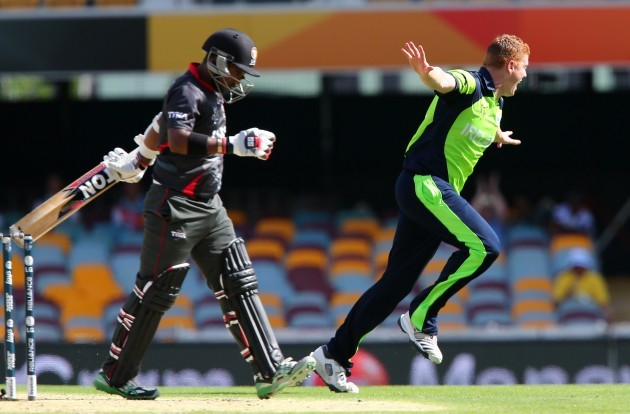 Kevin O'Brien celebrates after getting the wicket of Swapnil Patil