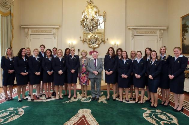 Sabina Higgins and President Michael D. Higgins with the Irish WomenÕs Rugby Grand Slam winning team 16/9/2013
