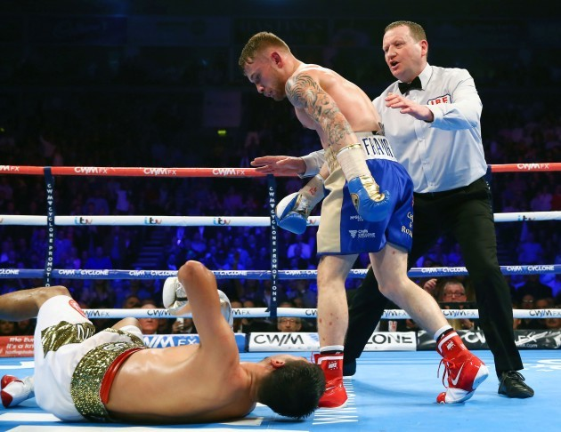 Carl Frampton knocks down Chris Avalos in the fifth round to win