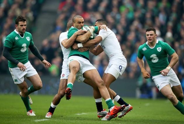 Simon Zebo tackled by Anthony Watson and Jonathan Joseph
