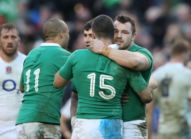 Rob Kearney and Cian Healy celebrate
