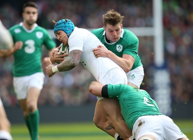 Jack Nowell caught by Rory Best and Jordi Murphy