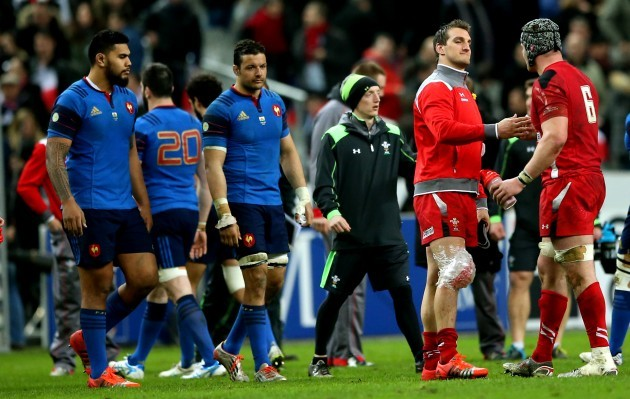 Sam Warburton celebrates with Dan Lydiate after the game
