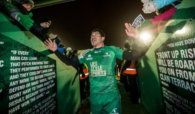 Mils Muliaina celebrates with fans