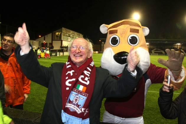 Michael D Higgins with Galway United mascot